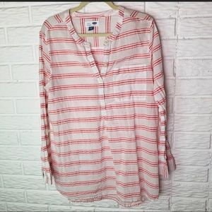 Old Navy Size XL Coral Striped Tunic